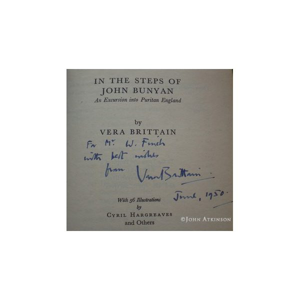 brittain vera in the steps of john bunyan first uk edition signed 2