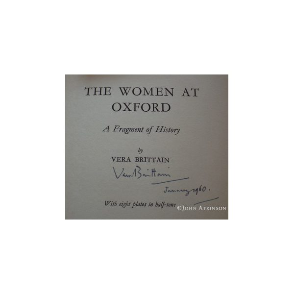 brittain vera women at oxford first uk edition 1960 signed 2