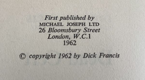 dick francis dead cert first uk edition 1962 img 8860 2