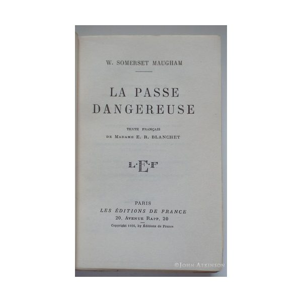 maugham w somerset la passe dangereuse first french edition 1926 signed 2