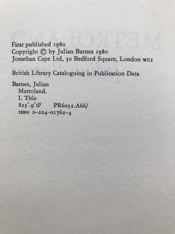 julian barnes metroland first edition2