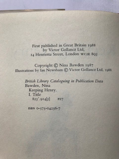 nina bawden keeping henry signed first edition2