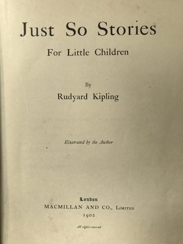 rudyard kipling just so stories first edition2