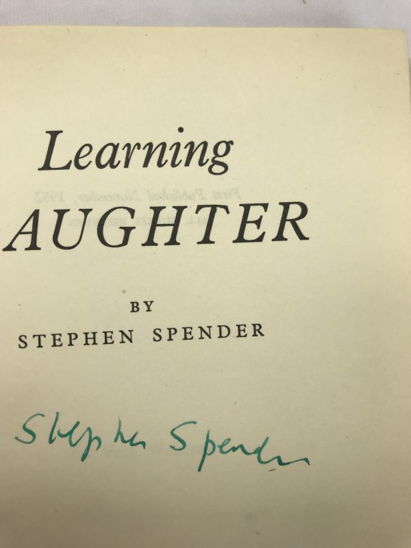 stephen spender learning laughter signed first edition2