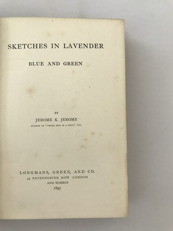 jerome k jerome sketches in lavender blue and green first edition2