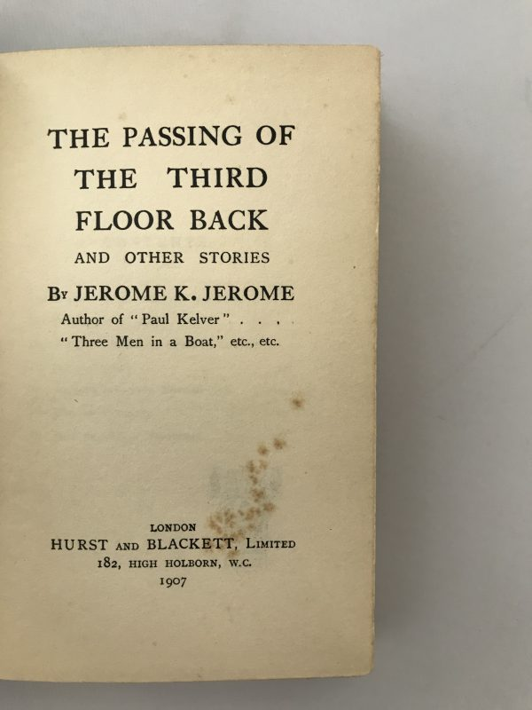 jerome k jerome the passing of the third floor back first edition2