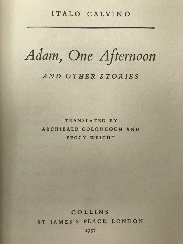 adam one afternoon italo calvino first edition3