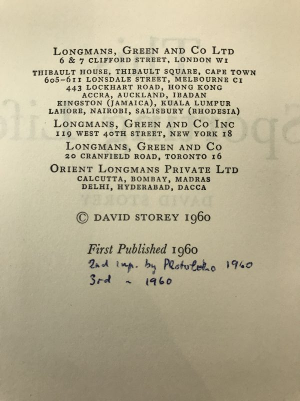 david storey this sporting life first edition2