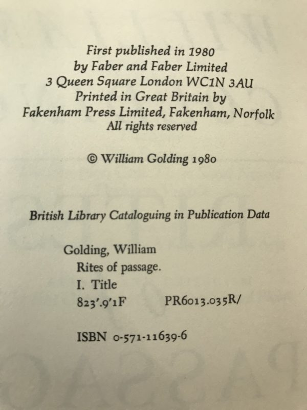 william golding rights of passage first edition2