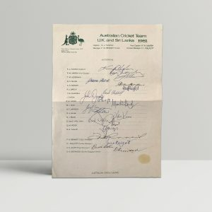australian cricket team signed squad sheet