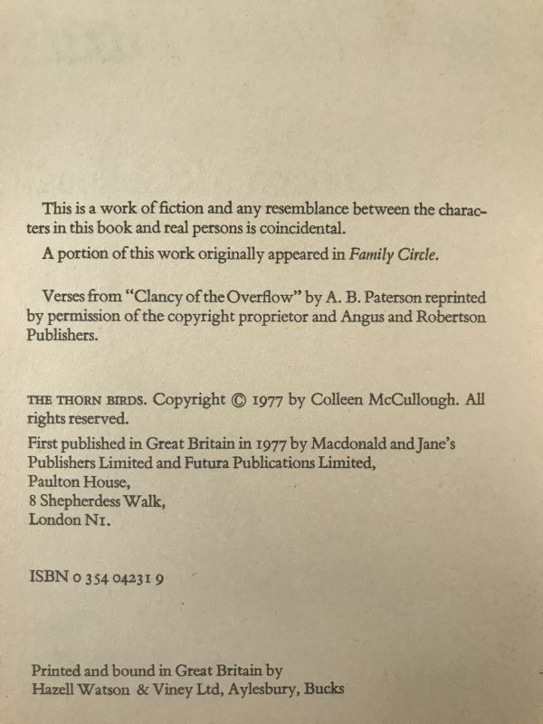 colleen mccullough the thorn birds first edition2