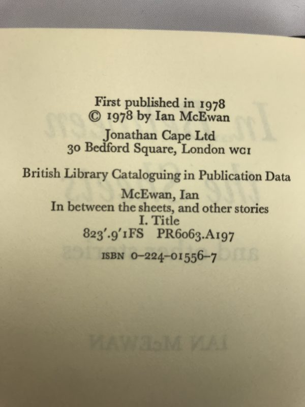 ian mcewan in between the sheets first edition2