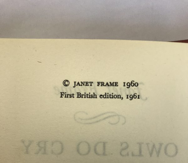 janet frame owls do cry first edition2