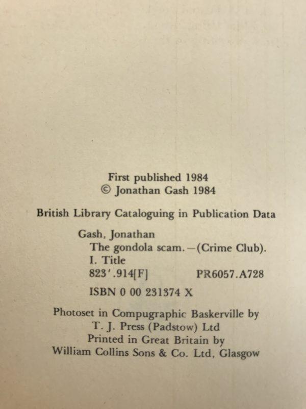 jonathan gash the gondola scam signed first edition3