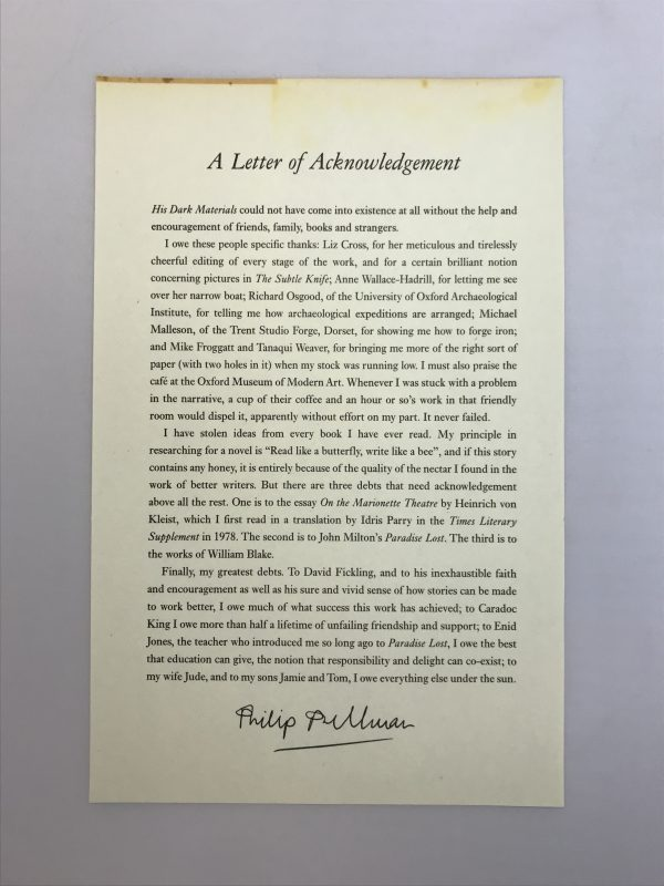 philip pullman his dark materials with letter5