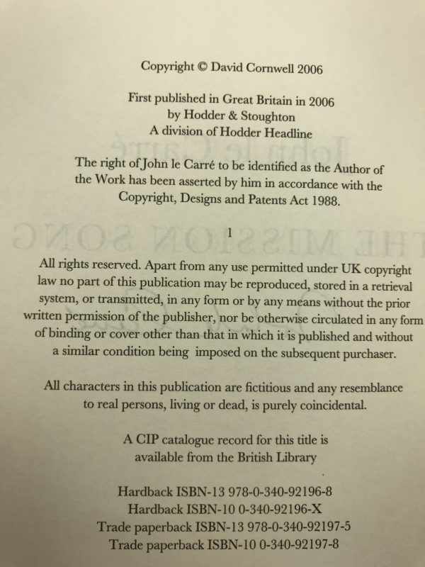 john le carre mission song signed first edition3