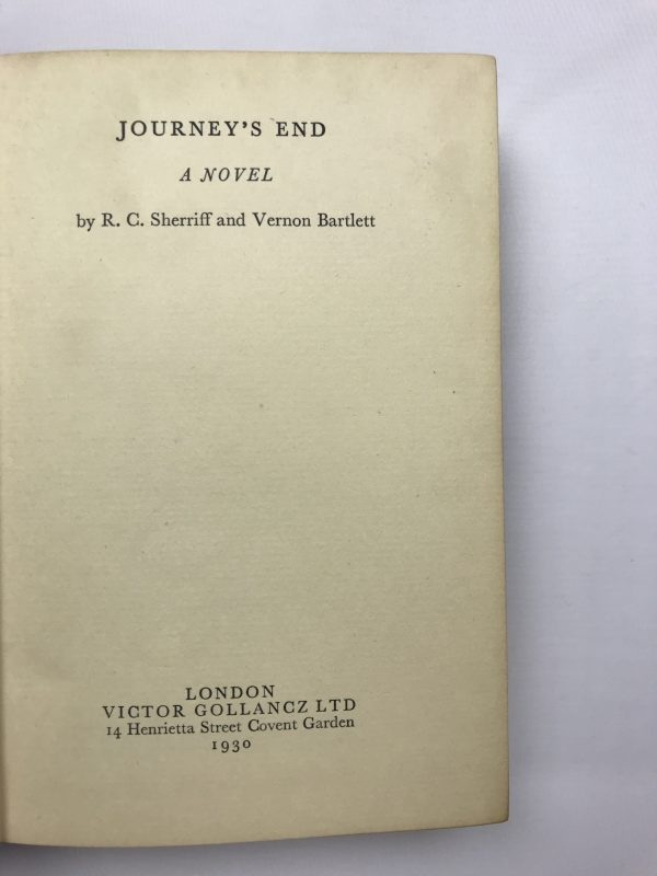 rc sherriff and vernon bartlett journeys end first edition3
