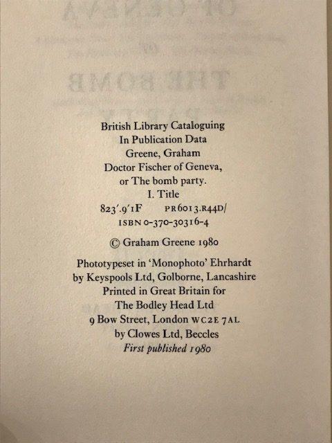 graham greene doctor fischer of geneva first edition2