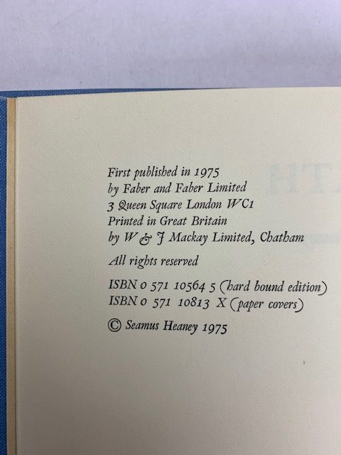 seamus heaney north first edition with band2