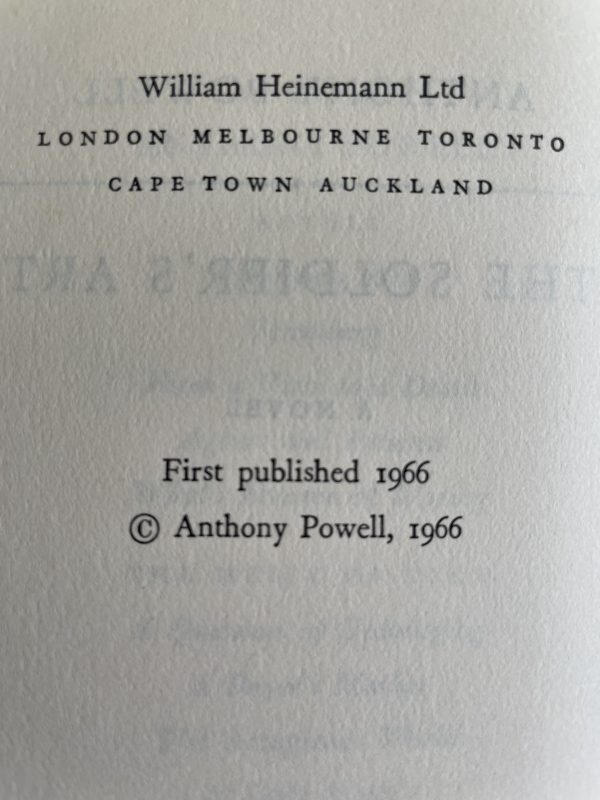 anthony powell soldiers art first edition2