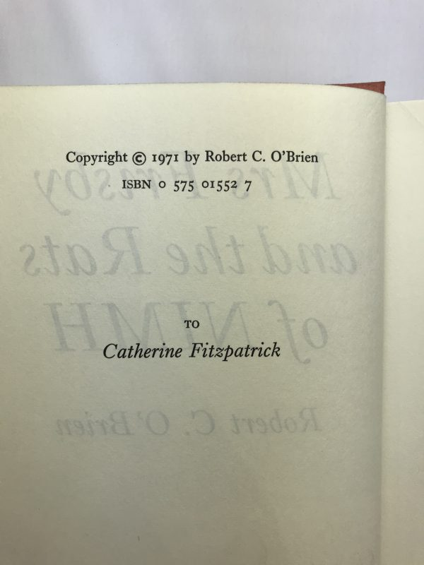 robert c obrien mrs frisby and the rats of nimh first edition2