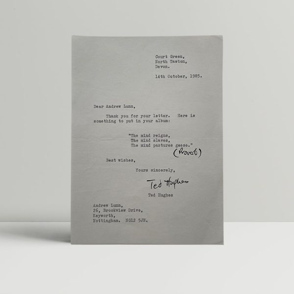 ted hughes signed letter1