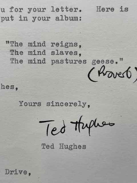 ted hughes signed letter2