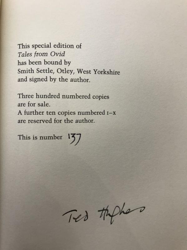 ted hughes tales from ovid signed limted edition2