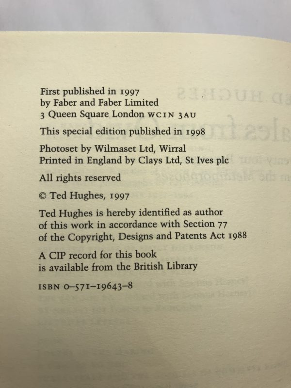 ted hughes tales from ovid signed limted edition3