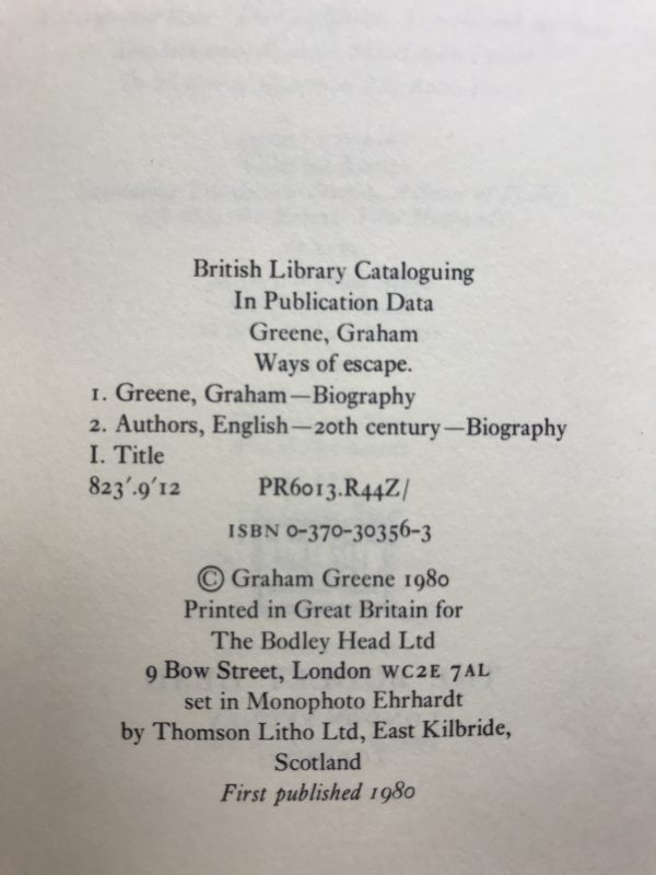 graham greene ways of escape first edition2