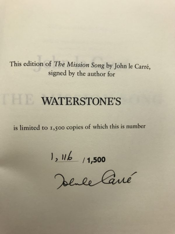 john le carre mission song signed 1st ed3
