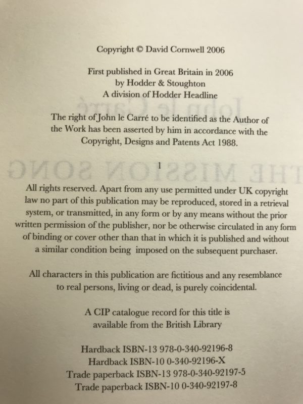 john le carre mission song signed 1st ed4
