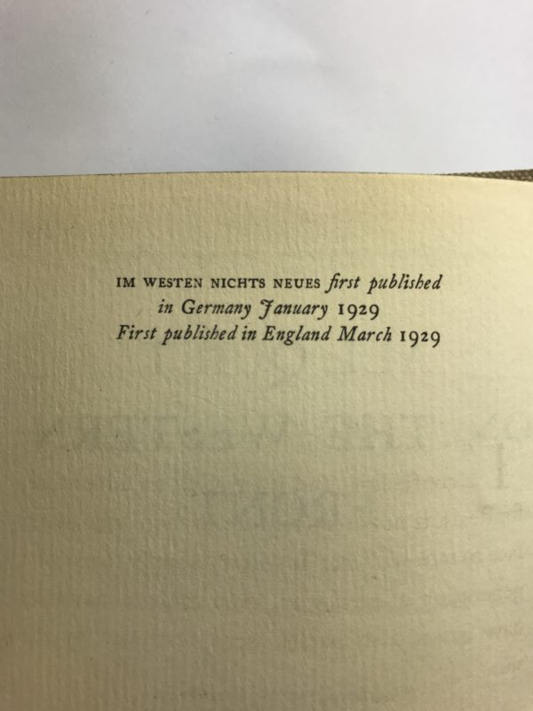 erich maria remarque all quiet on the western front first edition2