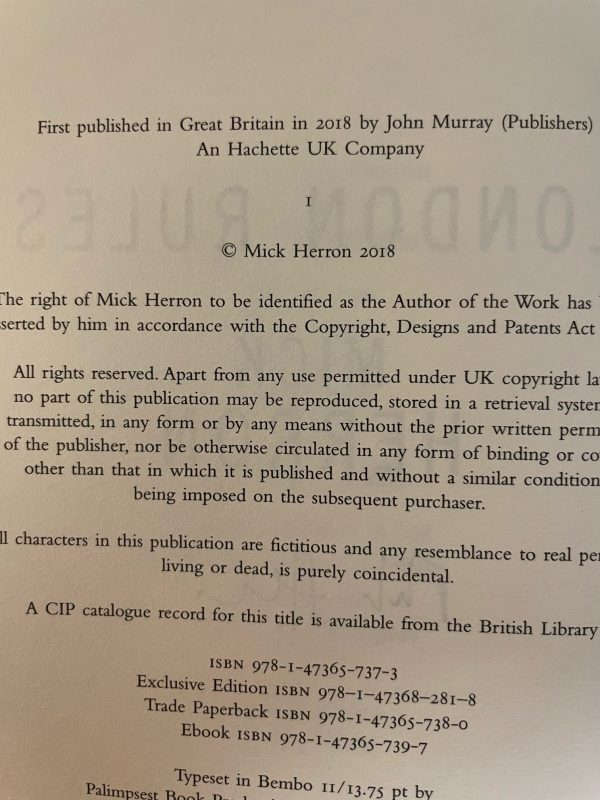 mick herron london rules signed first edition5