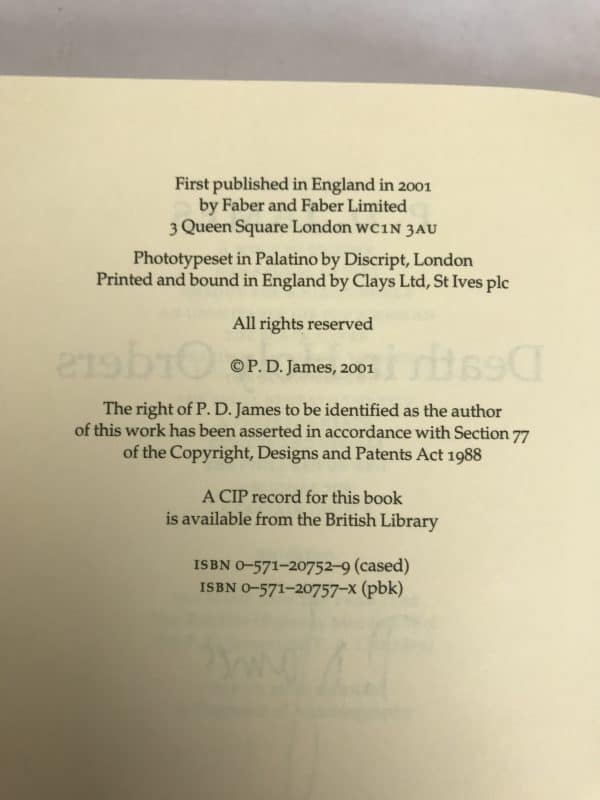 pd james death in holy orders signed first ed3