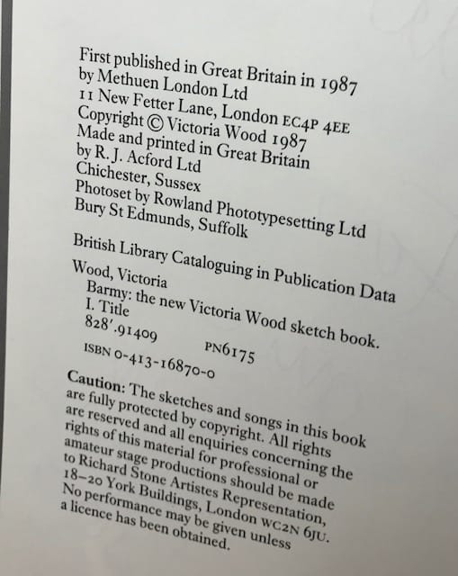 victoria wood barmy signed first edition3