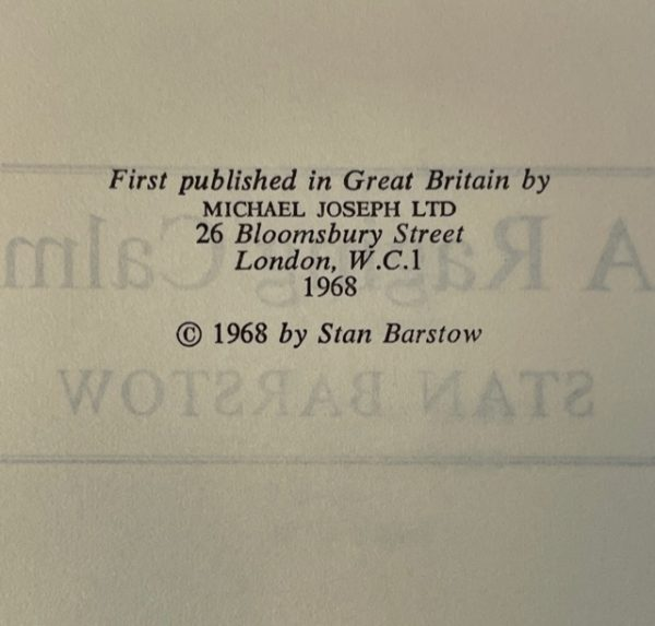 stan barstow a raging calm signed first edition5