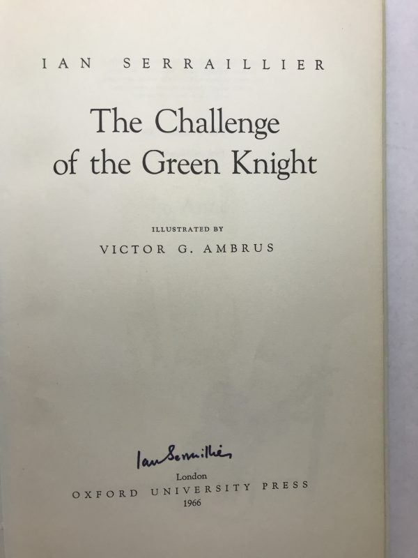 ian serraillier the challenge of the green knight signed first ed2